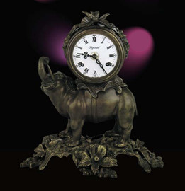 Fancy d'Oro Ormolu - Desk, Mantel, Table Clock - Elephant Theme - Choose Your Finish - Handmade Reproduction of a 17th, 18th Century Dore Bronze Antique, 2596