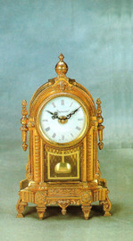 "Fancy Gilt Brass Ormolu 11.81"" Mantel Clock, French Gold Finish - Handmade Reproduction of a 17th, 18th Century Dore Bronze Antique, 2594"