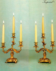 "Brass Ormolu, Louis XV, Rococo, Imperial 11"" Three light Candelabra Set, French Gold Gilt Patina - Handmade Reproduction of a 17th, 18th Century Dore Bronze Antique, 2593"