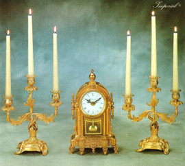 Antique Style French Louis Garniture, Gilt Brass Ormolu Mantel, Table Clock And Three Light Candelabra Set, French Gold Finish, Handmade Reproduction of a 17th, 18th Century Dore Bronze Antique, 2592