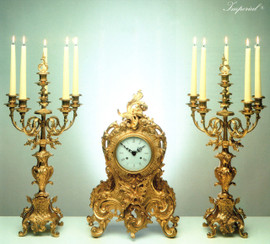 Antique Style French Louis Garniture, Gilt Brass Ormolu Mantel, Table Clock And Six Light Candelabra Set, French Gold Finish, Handmade Reproduction of a 17th, 18th Century Dore Bronze Antique, 2591