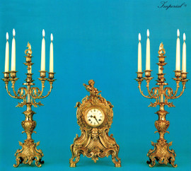 Antique Style French Louis Garniture, Gilt Brass Ormolu Mantel, Table Clock And Six Light Candelabra Set, French Gold Finish, Handmade Reproduction of a 17th, 18th Century Dore Bronze Antique, 2590