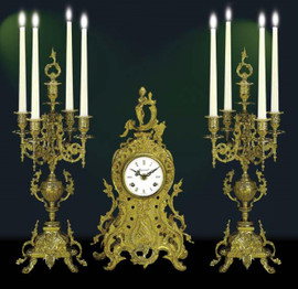 Antique Style French Louis Garniture, Gilt Brass Ormolu Mantel, Table Clock And Five Light Candelabra Set, French Gold Finish, Handmade Reproduction of a 17th, 18th Century Dore Bronze Antique, 2589