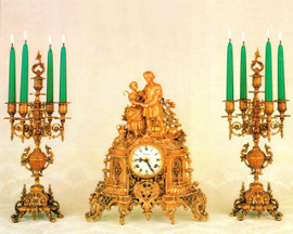Antique Style French Louis Garniture, Gilt Brass Ormolu Mantel, Table Clock And Five Light Candelabra Set, French Gold Finish, Handmade Reproduction of a 17th, 18th Century Dore Bronze Antique, 2587