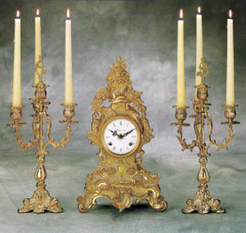 Antique Style French Louis Garniture, Gilt Brass Ormolu Mantel, Table Clock And Four Light Candelabra Set, French Gold Finish, Handmade Reproduction of a 17th, 18th Century Dore Bronze Antique, 2586