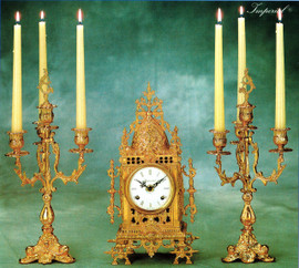 Antique Style French Louis Gilt Brass Ormolu Mantel Clock And Four Light Candelabra Garniture Set, French Gold Finish, Handmade Reproduction of a 17th, 18th Century Dore Bronze Antique, 2583