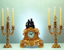 Antique Style French Louis Garniture, Gilt Brass Ormolu Mantel, Table Clock And Four Light Candelabra Set, French Gold Finish, Handmade Reproduction of a 17th, 18th Century Dore Bronze Antique, 2582