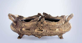 "Gilt Brass Ormolu 15.74"" Flower Bowl Centerpiece, French Gold Finish - Handmade Reproduction of a 17th, 18th Century Dore Bronze Antique, 2579"