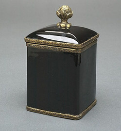 Luxe Life Glossy Black Finely Finished Porcelain and Parcel Gilt Bronze Ormolu, 6 Inch Square Decorative Box