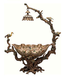 Luxe Life Hand Painted 32 Inch Centerpiece Bowl, Metallic Silver Nature Scene