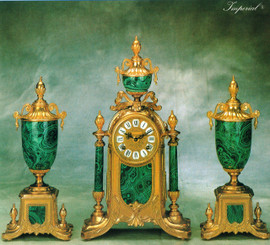 Antique Style French Louis Garniture, Gilt Brass Ormolu, Malachite finished Italian Porcelain Mantel, Table Clock And Cassolette Urn Set, French Gold Finish, Handmade Reproduction of a 17th, 18th Century Dore Bronze Antique, 2552