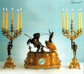 "Antique Style French Louis Garniture, Gilt Brass Ormolu Mantel Clock and 25.98"" Six Light Candelabra Set, French Gold and Polychrome Patina, Handmade Reproduction of a 17th, 18th Century Dore Bronze Antique, 2551"