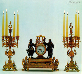 Antique Style French Louis Garniture, Gilt Brass Ormolu Mantel, Table Clock And Five Light Candelabra Set, French Gold Finish, Handmade Reproduction of a 17th, 18th Century Dore Bronze Antique, 2549
