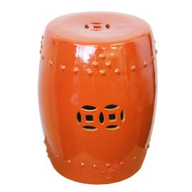 Finely Finished Ceramic Garden Stool, 17 Inch, Polished Orange Crackle Finish