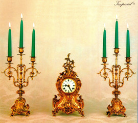 "Antique Style French Louis Garniture, Brass Ormolu, Louis XV, Rococo, Mantel, Table Clock And 16.53"" Three Light Shallow Candelabra Set, French Gold Gilt Patina, Handmade Reproduction of a 17th, 18th Century Dore Bronze Antique, 2542"