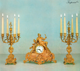 """Antique Style French Louis Garniture, Gilt Brass Ormolu Mantel, Table Clock and 19.29"""" Five Light Candelabra Set, French Gold Finish, Handmade Reproduction of a 17th, 18th Century Dore Bronze Antique, 2519"""