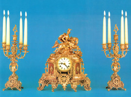 """Antique Style French Louis Garniture, Gilt Brass Ormolu Mantel, Table Clock and 19.29"""" Five Light Candelabra Set, French Gold Finish, Handmade Reproduction of a 17th, 18th Century Dore Bronze Antique, 2518"""