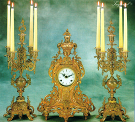 Antique Style French Louis Garniture, Gilt Brass Ormolu Mantel, Table Clock and Five Light Candelabra Set, French Gold Finish, Handmade Reproduction of a 17th, 18th Century Dore Bronze Antique, 2517