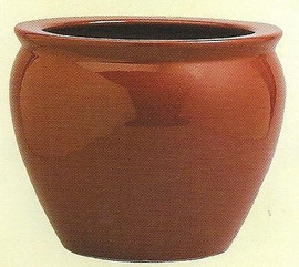 Solid Burgundy - Luxury Hand Painted Porcelain - 18 Inch Fish Bowl   Planter