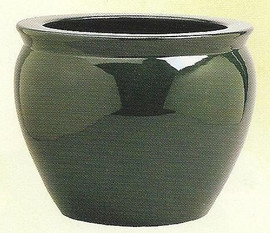 Solid Hunter Green - Luxury Hand Painted Porcelain - 18 Inch Fish Bowl | Planter