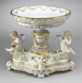 Meissen Style Tabletop, 14 Inch Porcelain Pedestal Bowl