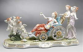 Meissen Style Tabletop, 20 Inch Porcelain Sculpture