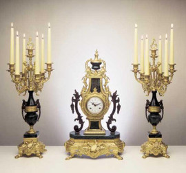 Antique Style French Louis Garniture, Gilt Brass Ormolu Nero Marquina Italian Marble Mantel, Table Clock and Candelabra, Handmade Reproduction of a 17th, 18th Century Dore Bronze Antique, 2427