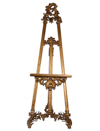 Golden Hand Carved Wood Easel - 76 Inch Regence Style - Adjustable