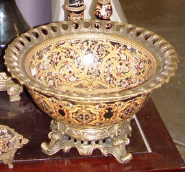 An Ebony Black and Gold Medallion - Luxury Handmade Reproduction Chinese Porcelain and Gilt Brass Ormolu - 16 Inch Decorative Display Bowl | Centerpiece Style F78