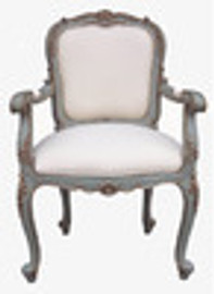 Custom Decorator - Hand Carved Mahogany 41.3 Inch Fauteuil Accent | Arm Chair - Upholstered Back and Seat