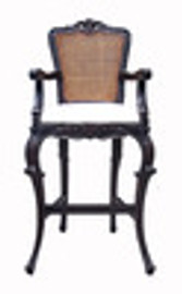 Custom Decorator - Hand Carved Wood 52.8 Inch Bar Stool - Cane Back & Upholstered Seat