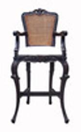Custom Decorator - Hand Carved Wood 52.8 Inch Bar Stool - Cane Back & Upholstered Seat - 2227