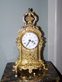Ornamental d'Oro Ormolu - Desk, Mantel, Louis Seize Table Clock - Choose Your Finish - Handmade Reproduction of a 17th, 18th Century Dore Bronze Antique, 2013