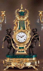Green Semi-Precious Gemstone, Malachite shown with 24 Karat Gold Patina on a Mantel, Table Clock #9, 6765