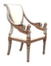 Custom Decorator - Hardwood Hand Carved - Empire Style 40.6 Inch Accent Arm Chair - Upholstered Back & Seat