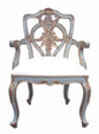 Custom Decorator - Hardwood Hand Carved Guirlande - Dining | Accent 42.1 Inch Arm Chair - Carved Back and Upholstered Seat