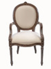 Custom Decorator - French Neo Classical 43.7 Inch Accent Arm Chair - Upholstered Oval Back & Seat