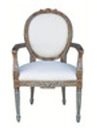 Custom Decorator - French Neo Classical 43.3 Inch Accent Arm Chair - Upholstered Oval Back & Seat
