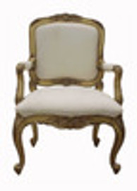 Custom Decorator - Hand Carved Hardwood French Regence Philippe d' Orleans 38.6 Inch Accent Arm Chair - Upholstered Back and Seat