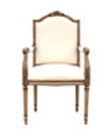 Custom Decorator - French Neo Classical 44.4 Inch Accent Arm Chair - Upholstered Back & Seat