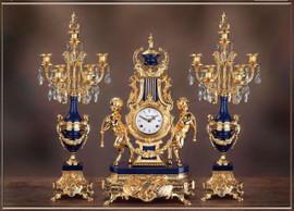 "#2 Lapis Lazuli Cry. 26"" Candelabra & 24"" Clock - Bespoke"