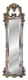 """Classic Elements 38"""" X 12"""" Elongated Beveled Glass Reproduction Accent Mirror, Silver Gilt Finish"""