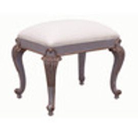 Custom Decorator - French Style Hand Carved Rectangular 21.7 Inch Foot Stool - 2170