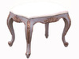 Custom Decorator - French Style Hand Carved Rectangular 22 Inch Foot Stool - 2169