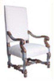 Custom Decorator - Hand Carved Hardwood Louis XIV 46.9 Inch Fauteuil | Arm Chair - Upholstered Back and Seat