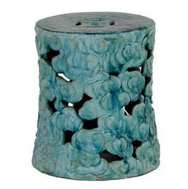 Finely Finished Ceramic Garden Stool, 17 Inch, Antiqued Turquoise Finish