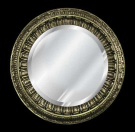 """Classic Elements 35"""" Round Beveled Glass Reproduction Mirror, Silver Gilt Finish"""
