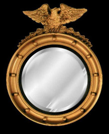 "Classic Elements 22"" Round Reproduction Beveled Glass Mirror, Custom Finish"