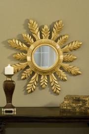 """Classic Elements 29"""" Round Sunburst Shape Beveled Glass Reproduction Mirror, Custom Finish, 2034"""