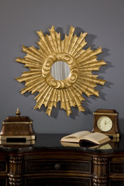 "Classic Elements 25"" Round Sunburst Shape Reproduction Mirror, Custom Finish"